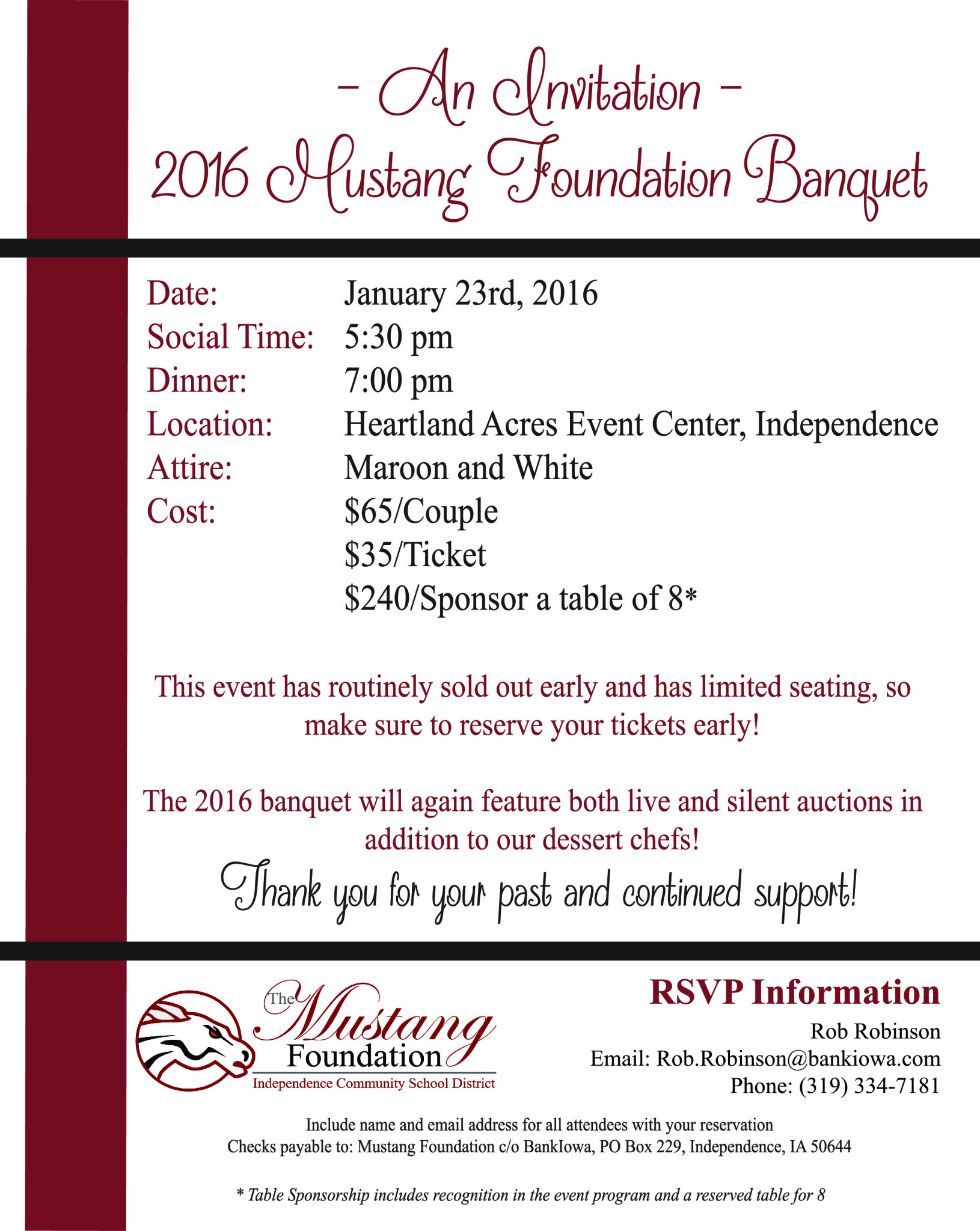 2016 Mustang Foundation Banquet Invite